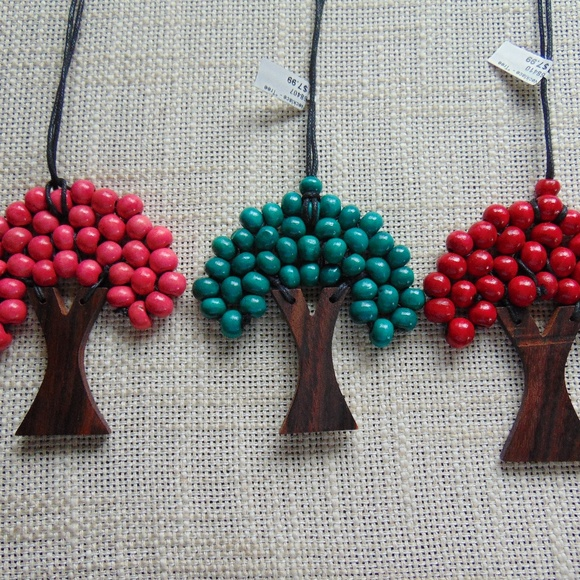 Wooden Tree Necklaces Boho Earthy NWT
